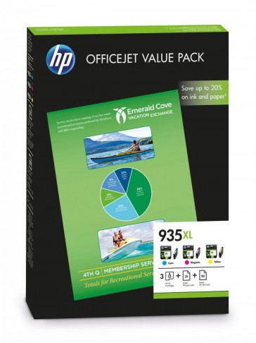 PACK TINTA 3 COLORES 935XL + PAPEL (F6U78AE) HP
