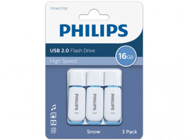 PACK 3 PENDRIVE 2.0 SNOW 16GB (FM16FD70E) PHILIPS